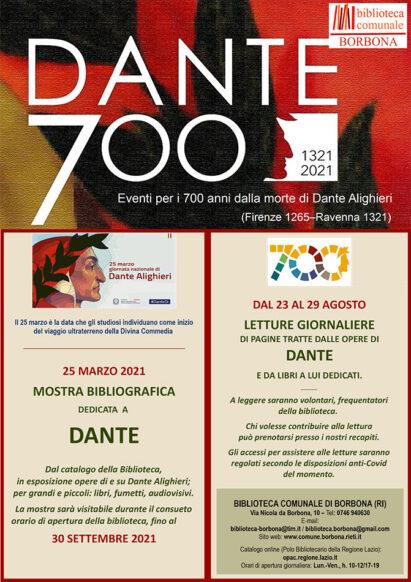 DANTE 700: 1321-2021. Eventi per i 700 anni dalla morte di Dante Alighieri (Firenze 1265 - Ravenna 1321) - BIBLIOTECA DI BORBONA, dal 25 marzo al 30 settembre 2021 - Mostra bibliografica dedicata a Dante.